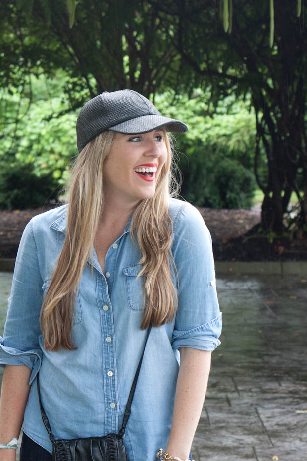 93c2d624f6341 I couldn t resist pairing my new Levi s with my J.Crew chambray and a baseball  cap for a classic rainy day outfit. We joke that this is my friend Alex s  ...