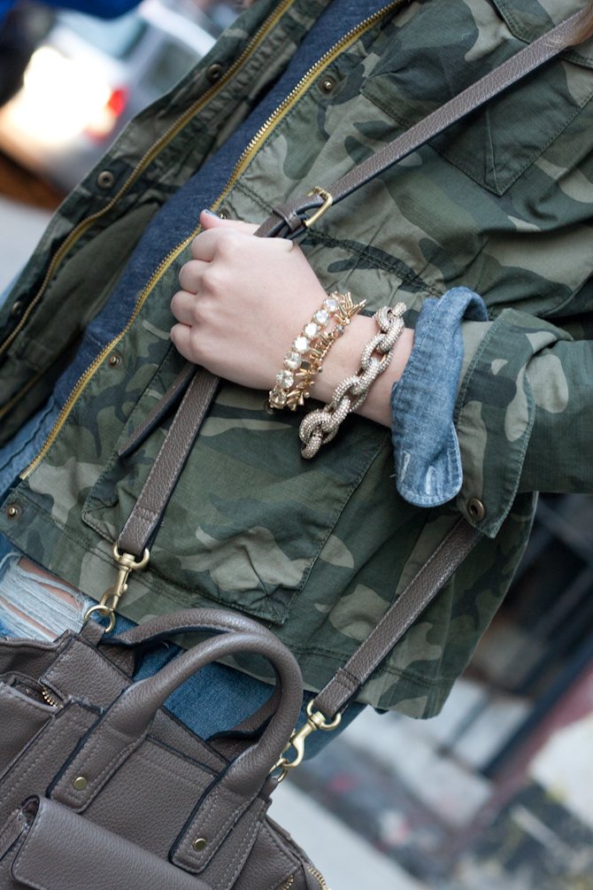 Stacked bracelets and Mini 3.1 Phillip Lim for Target bag