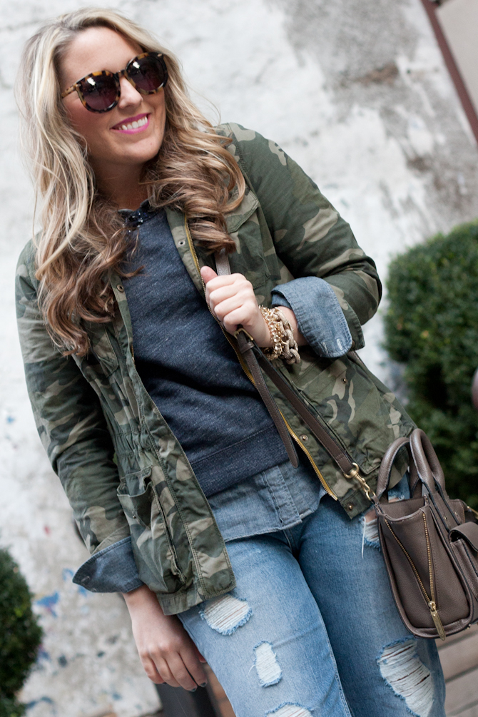 Camo Jacket over an Embellished sweatshirt