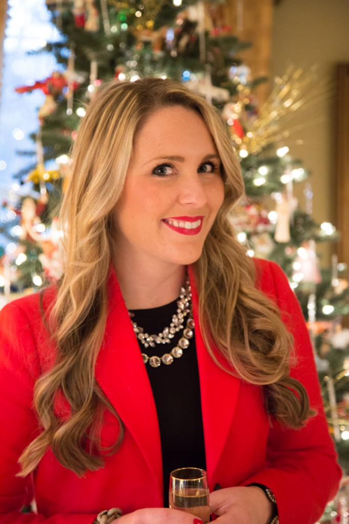 Holiday Look - statement necklaces & Red blazer