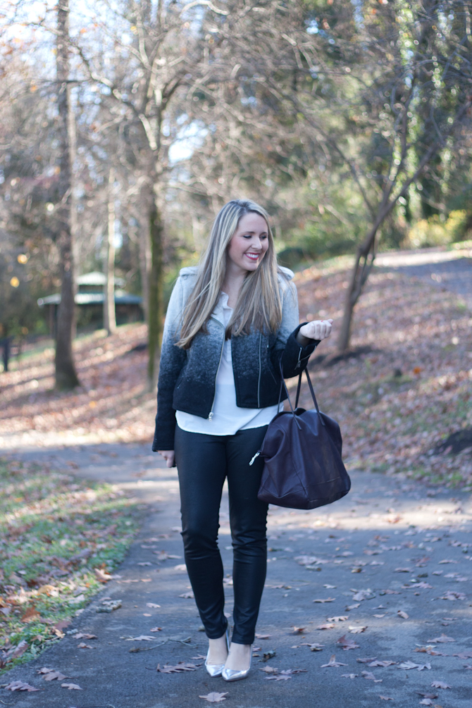 Leather leggings and ombre moto jacket