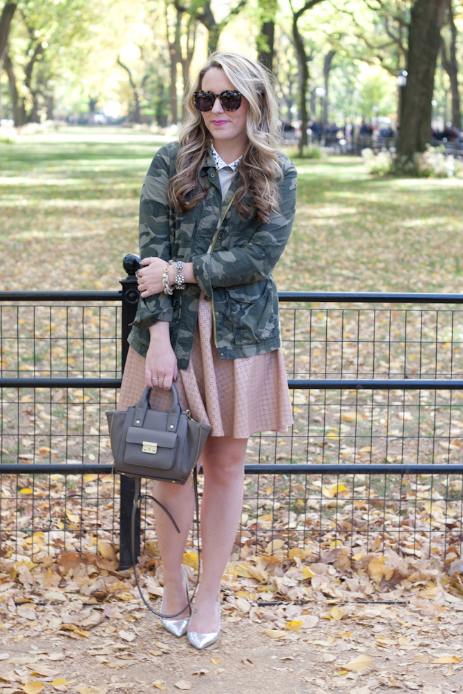 Old Navy Camo jacket and Anthropologie leather skirt