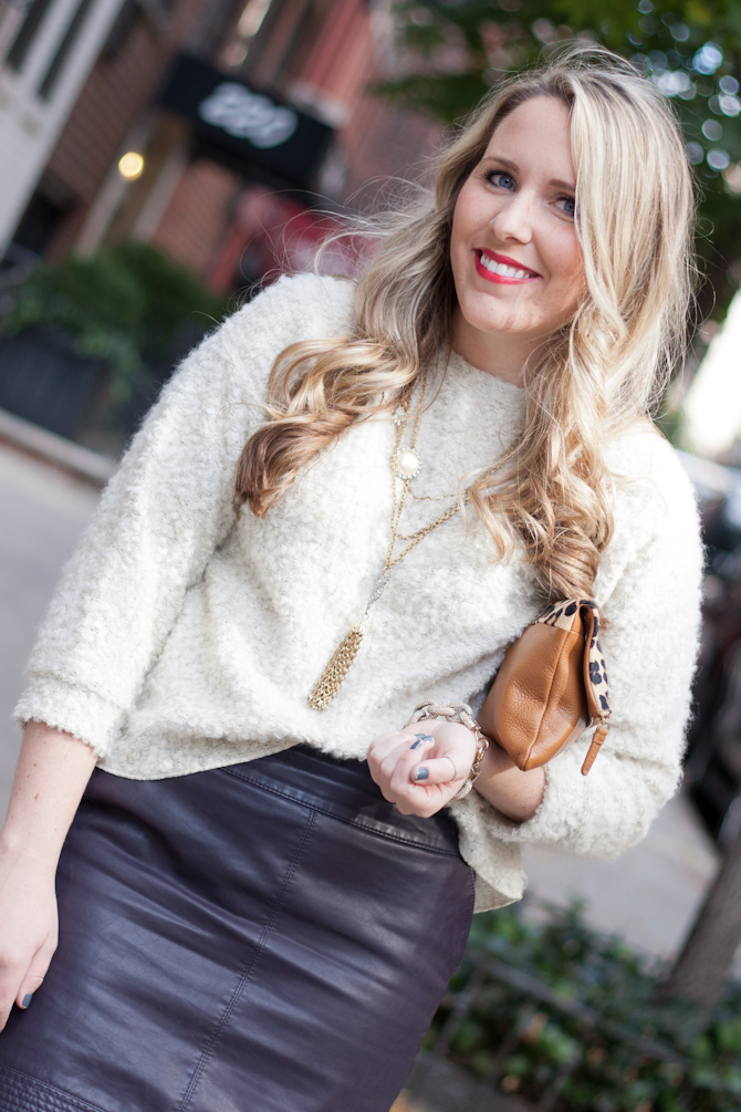 Gap leopard clutch and Lulu Frost necklace