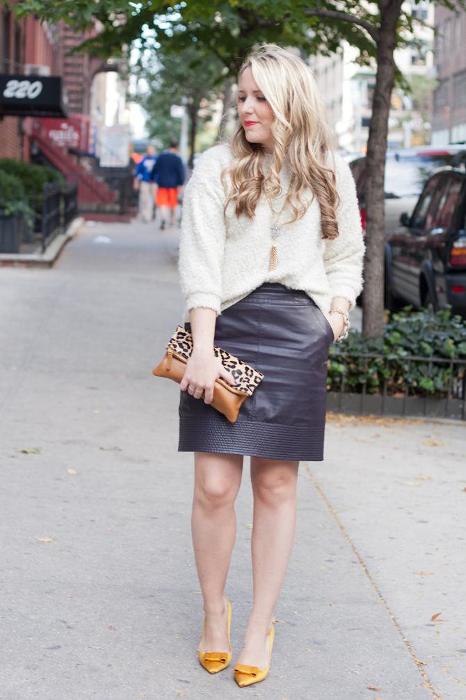 Leather Skirt + Cream sweater