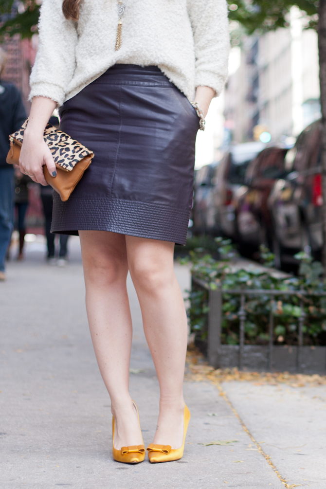 Faux leather skirt and gold Zara pumps