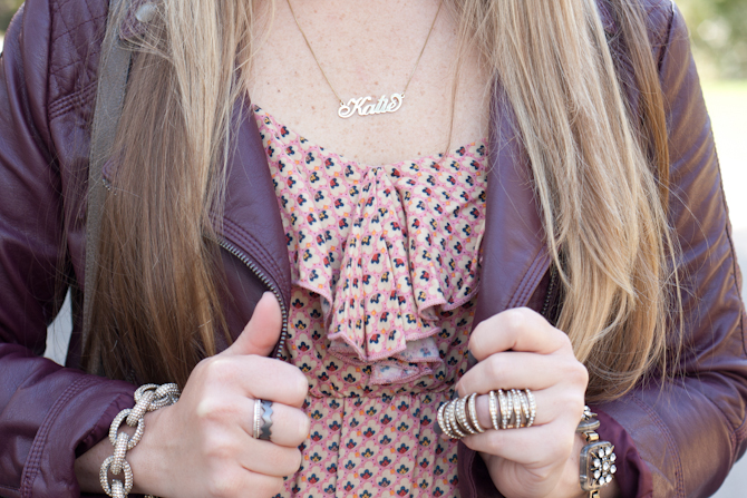 Carrie Necklace + Oxblood Moto Jacket