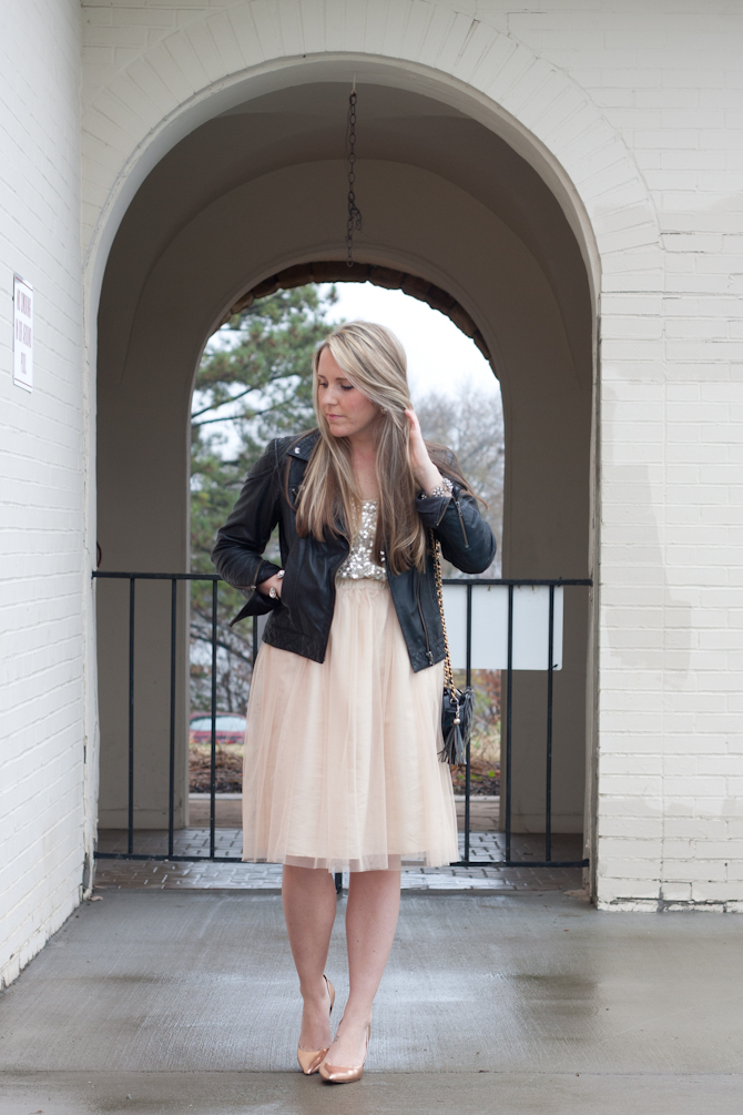 Pink Tulle skirt, Leather jacket, Sequin tank