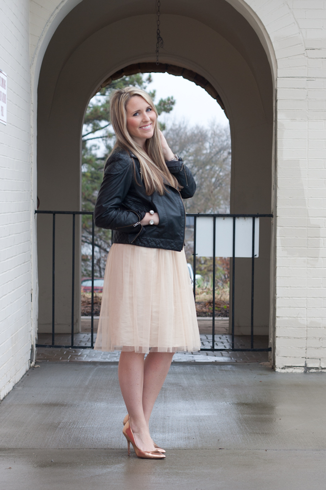 Pink tulle skirt, Rose Gold pumps, Leather moto jacket