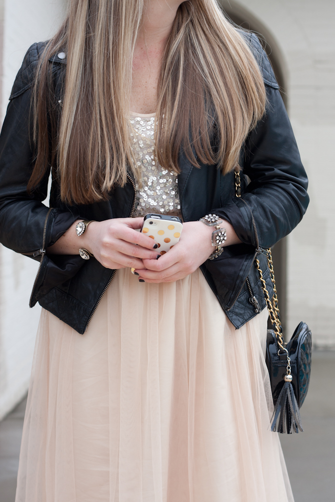 Pink tulle skirt & gold polka dot phone case