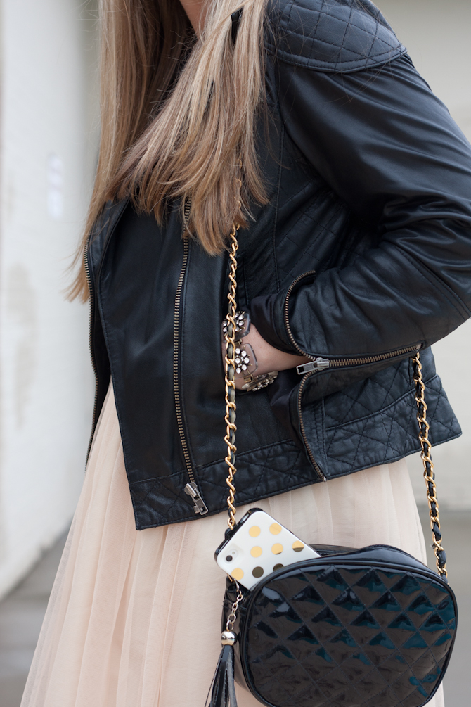 Gold sequin tank, leather jacket, tulle skirt