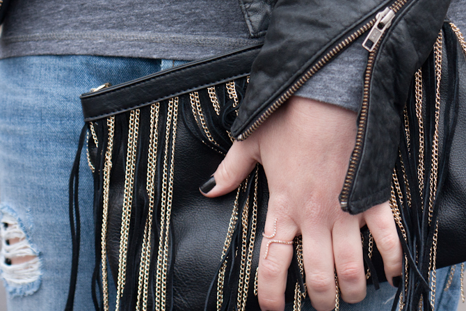 Fringe bag and rose gold snake ring