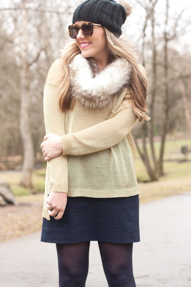 gold sweater, knit beanie and faux fur snood