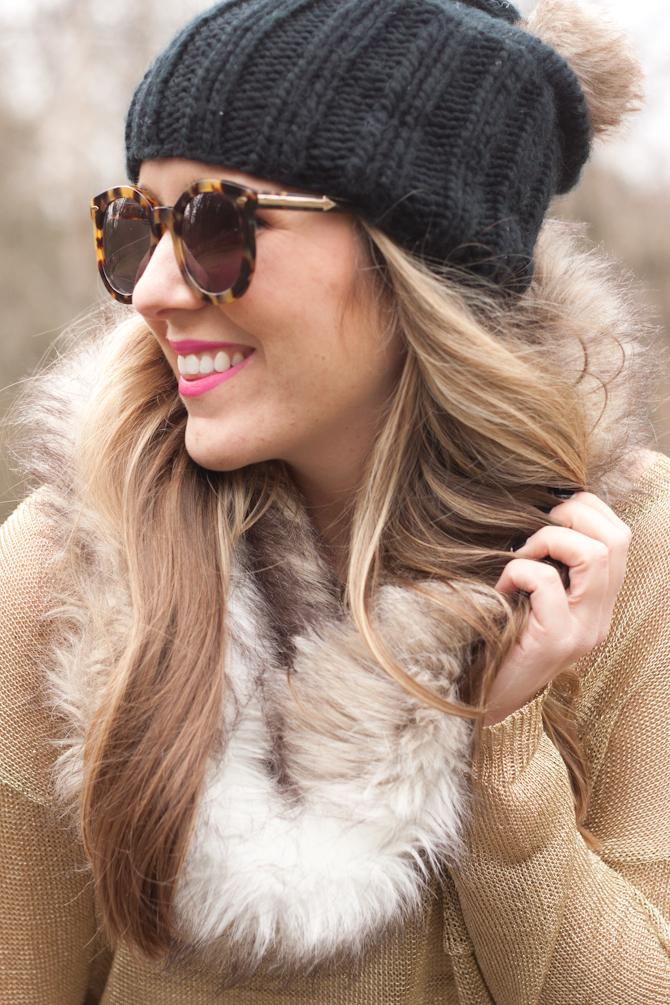 Karen Walker Super Duper sunglasses and faux fur snood