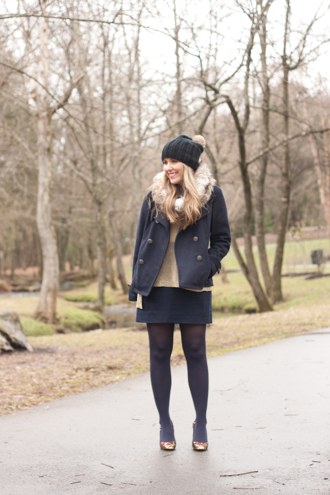 Navy, gold, sparkle heels and faux fur