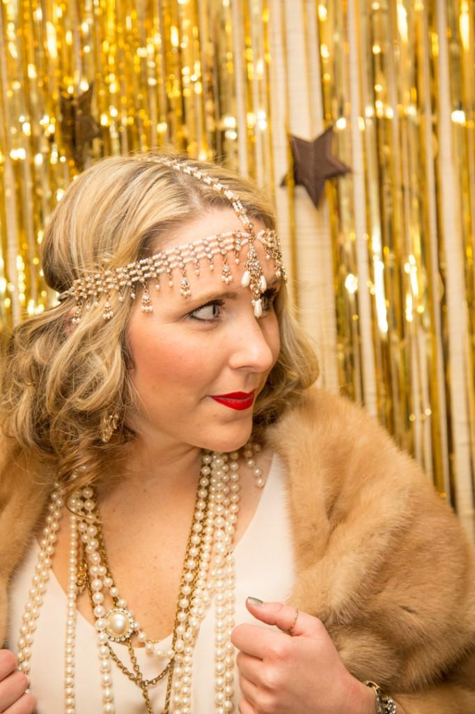 Pearl headpiece, red lips, Lulu Frost necklace