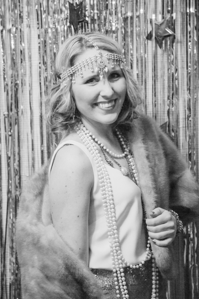 Gatsby outfit with pearl headpiece and vintage fur