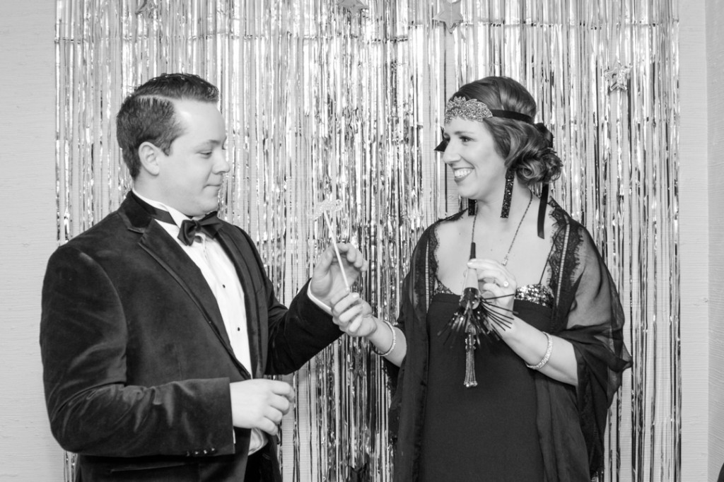 Bride and Groom in NYE Photo Booth