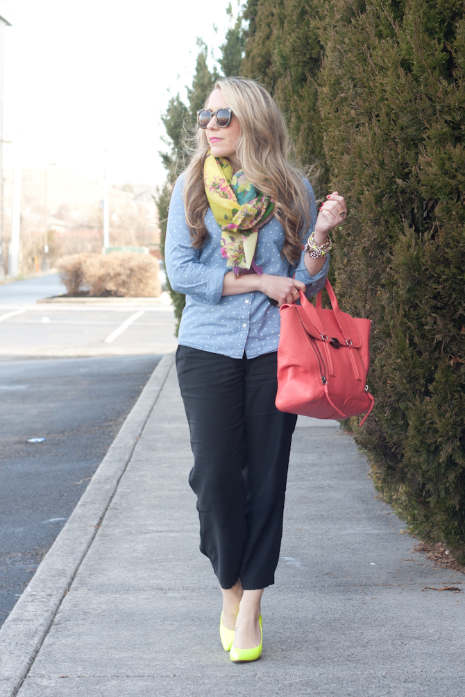 J.Crew Chambray with pops of neon