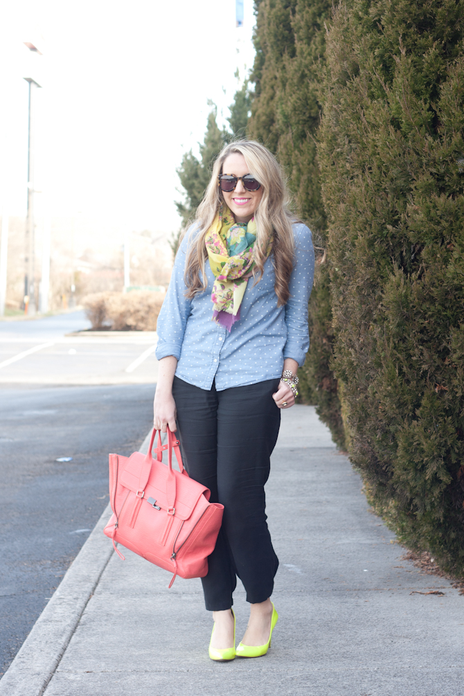J.Crew chambray, Nic + Zoe pajama style pants and neon accessories