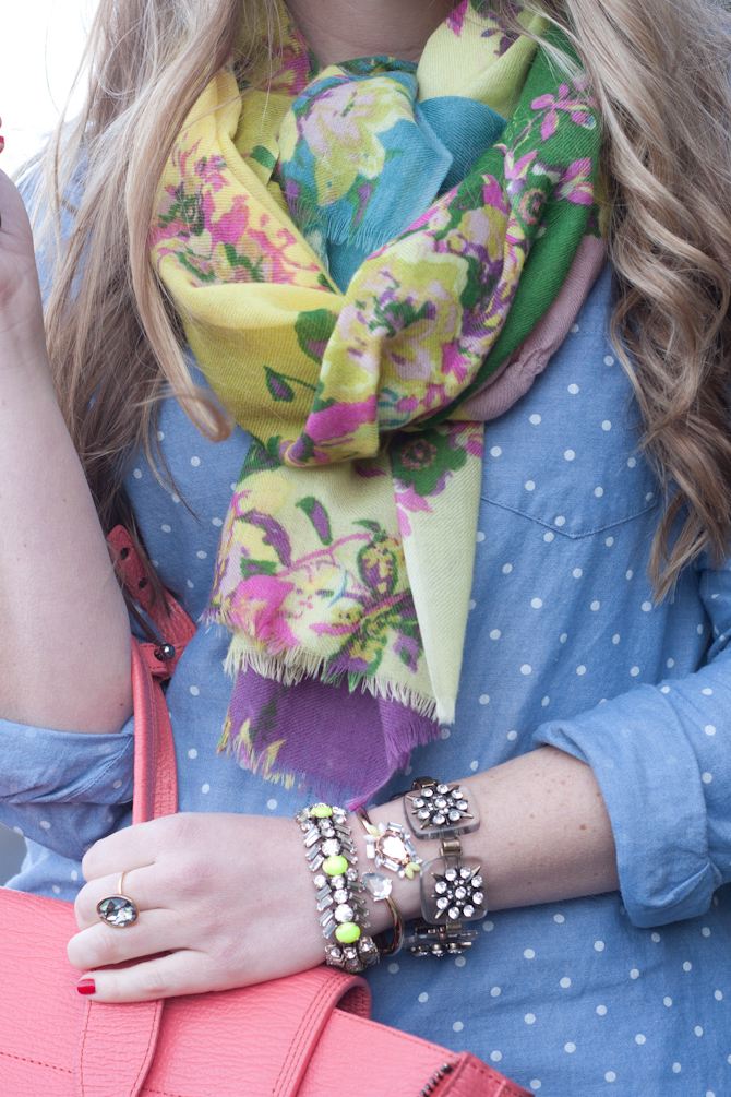 Green and yellow floral scarf and polka dot chambray