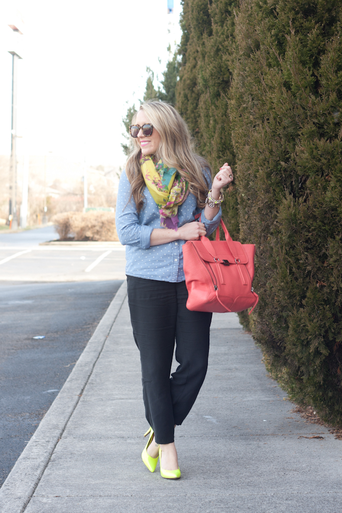 Chambray, black pajama style pants and pops of neon