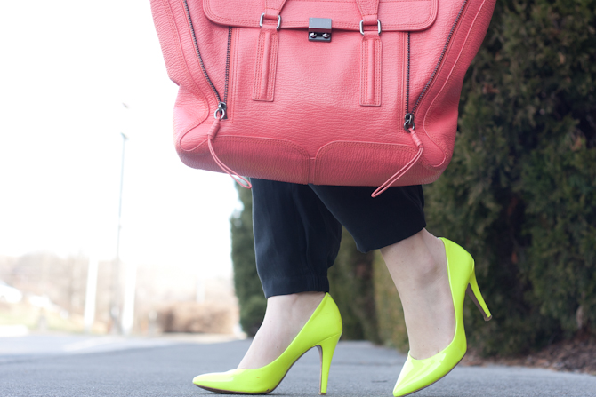 Neon yellow pumps and Coral 3.1 Phillip Lim Pashli