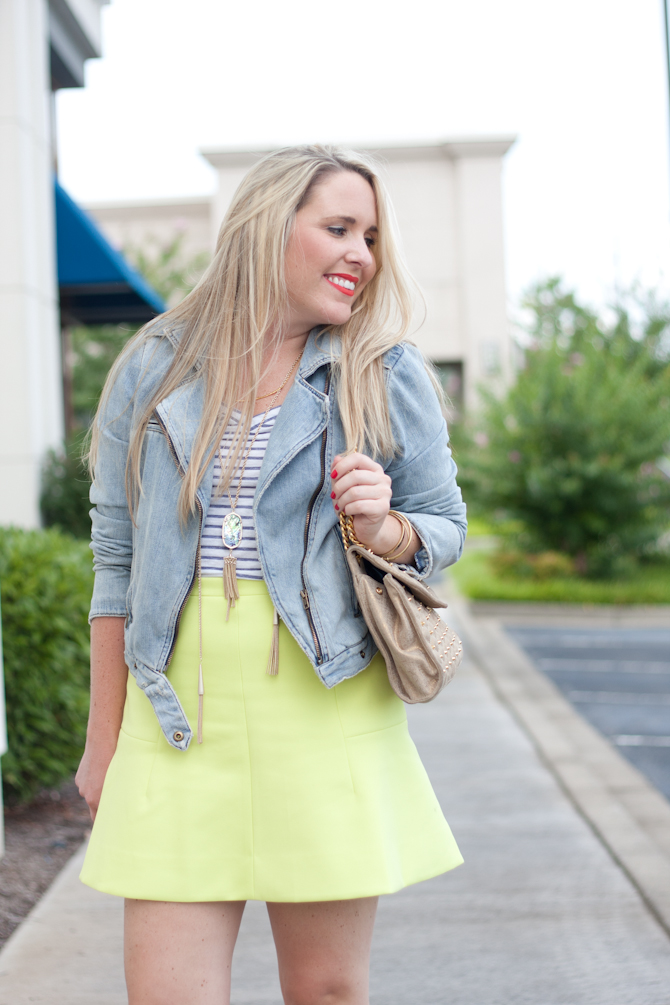Fluted neon skirt and layered Kendra Scott necklaces