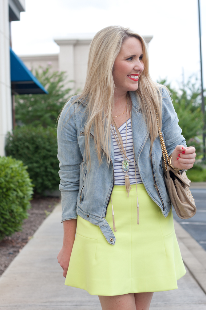 Stripe tee, Gap denim jacket and J.Crew fluted neon skirt