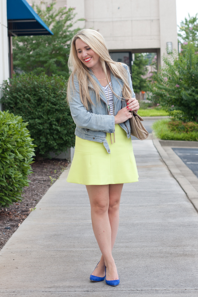 Neon green fluted skirt, Gap denim jacket, J.Crew blue pumps