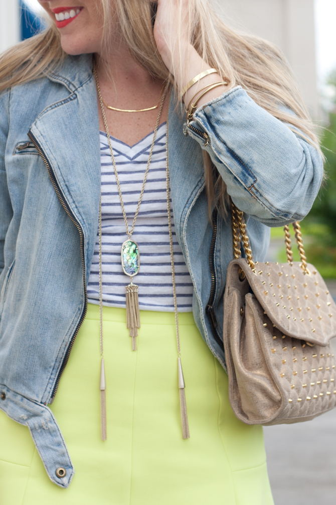 layered Kendra Scott necklaces and Rebecca Minkoff affair