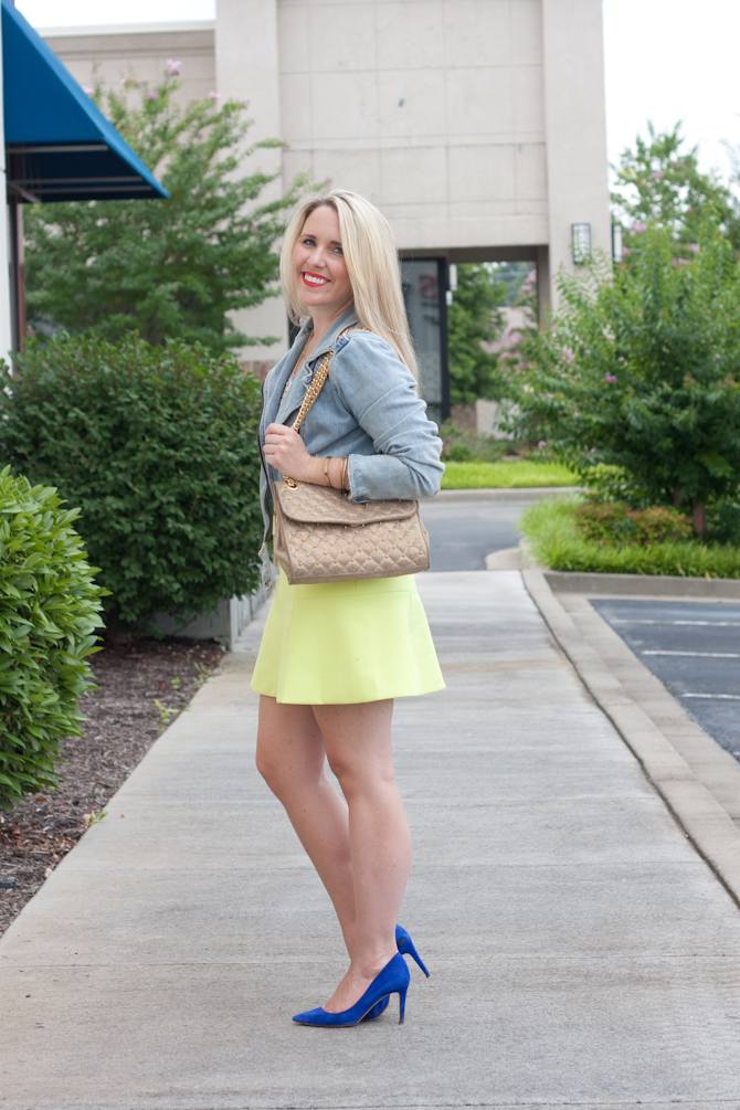 Fluted Neon Skirt on Pearls & Twirls