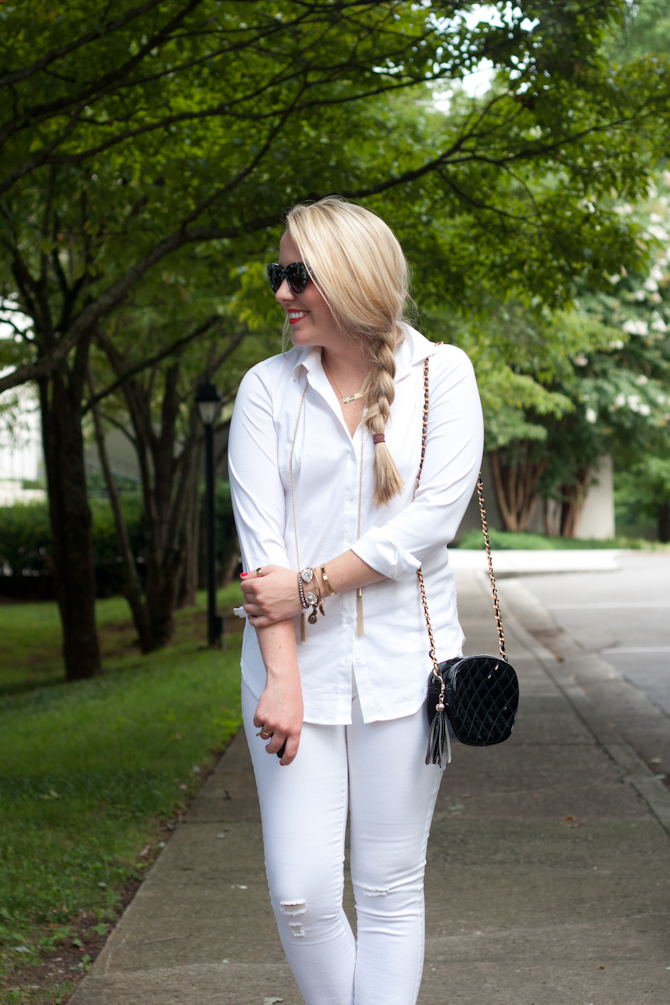 White Outfit and gold jewelry
