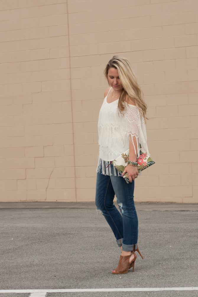 Ivory fringe top & Gap boyfriend jeans