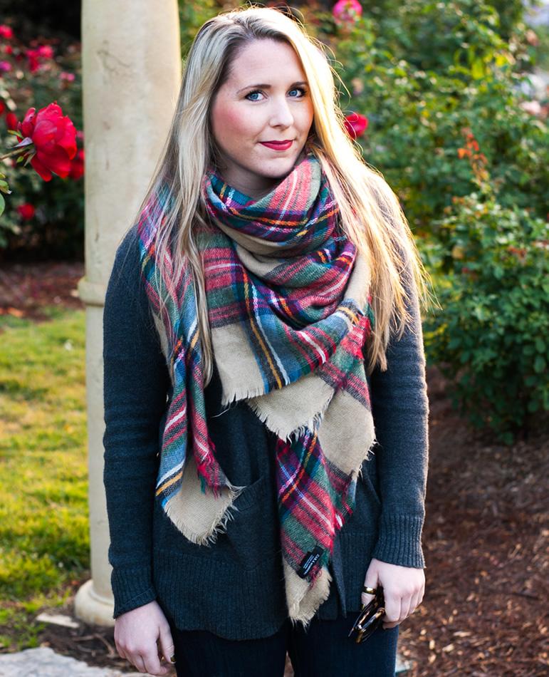 Oversized blanket scarf on Pearls & Twirls
