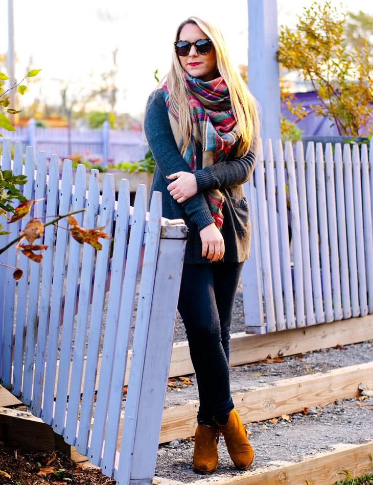 Plaid blanket scard & skinny jeans