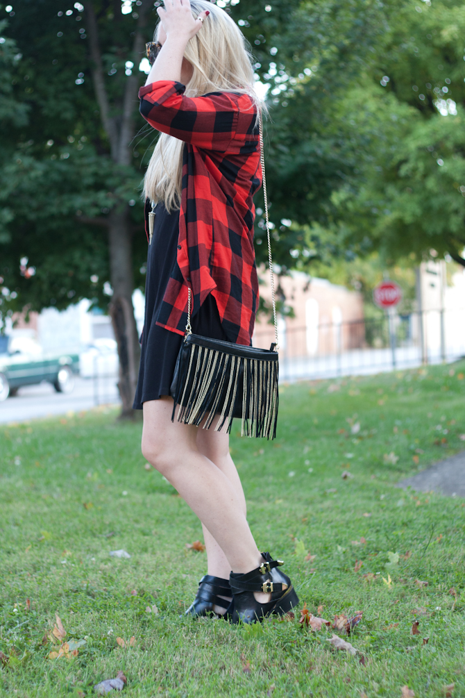 Buffalo Check shirt, Fringe purse, Black booties