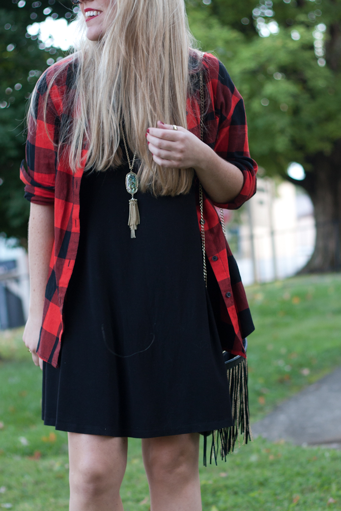 black dress & buffalo check