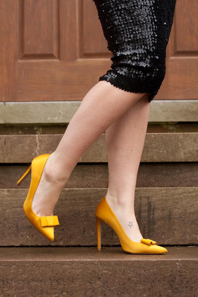 Gold Zara heels & Black sequin skirt