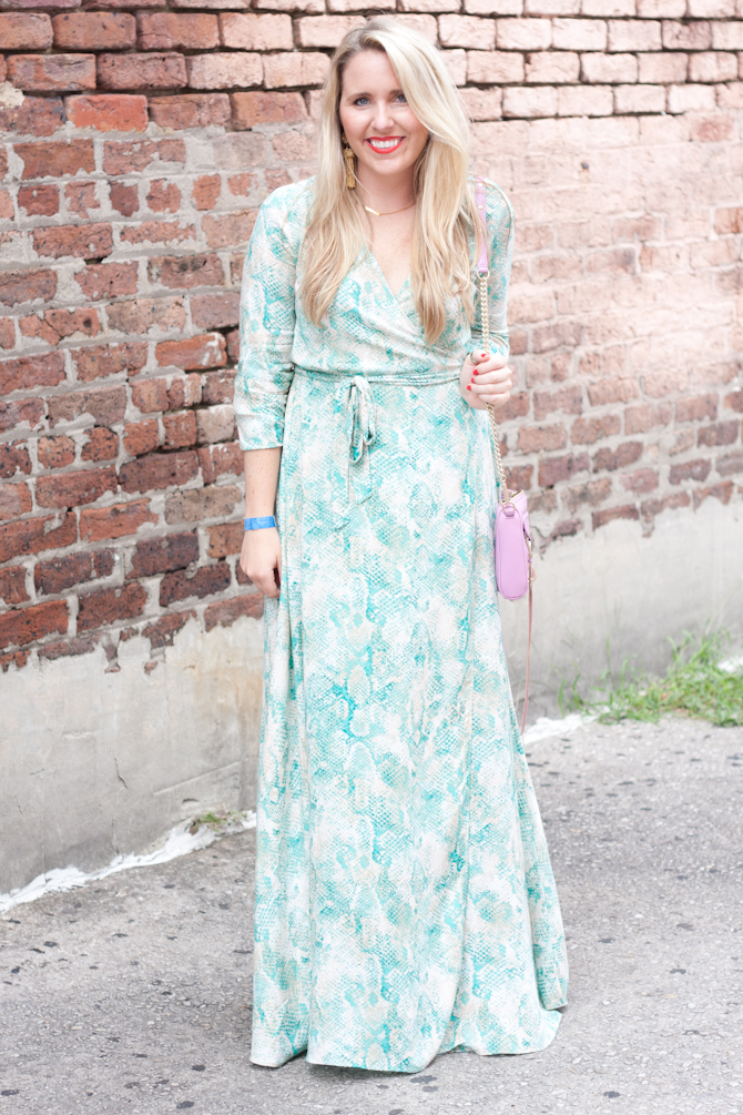 My Kind of Lovely wrap maxi dress on Pearls & Twirls