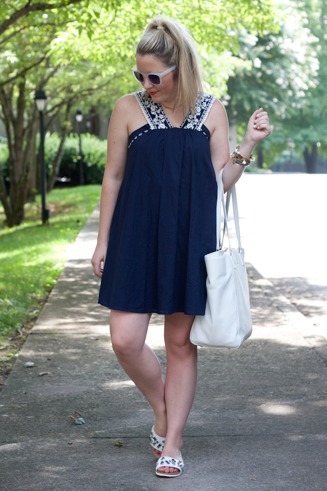 My Kind of Lovely Dress, Target Sandals, Vera Bradley tote on Pearls & Twirls