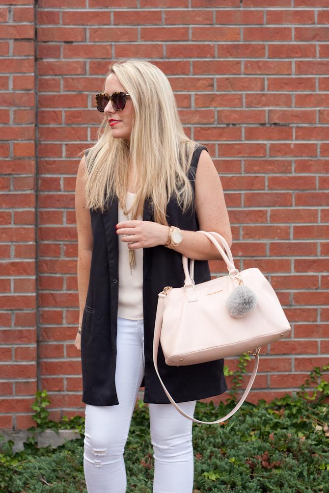 Sleeveless blazer & White denim on Pearls & Twirls