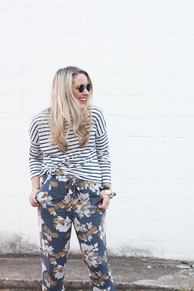 Mixed Prints in a Stripe Top & Floral Pants