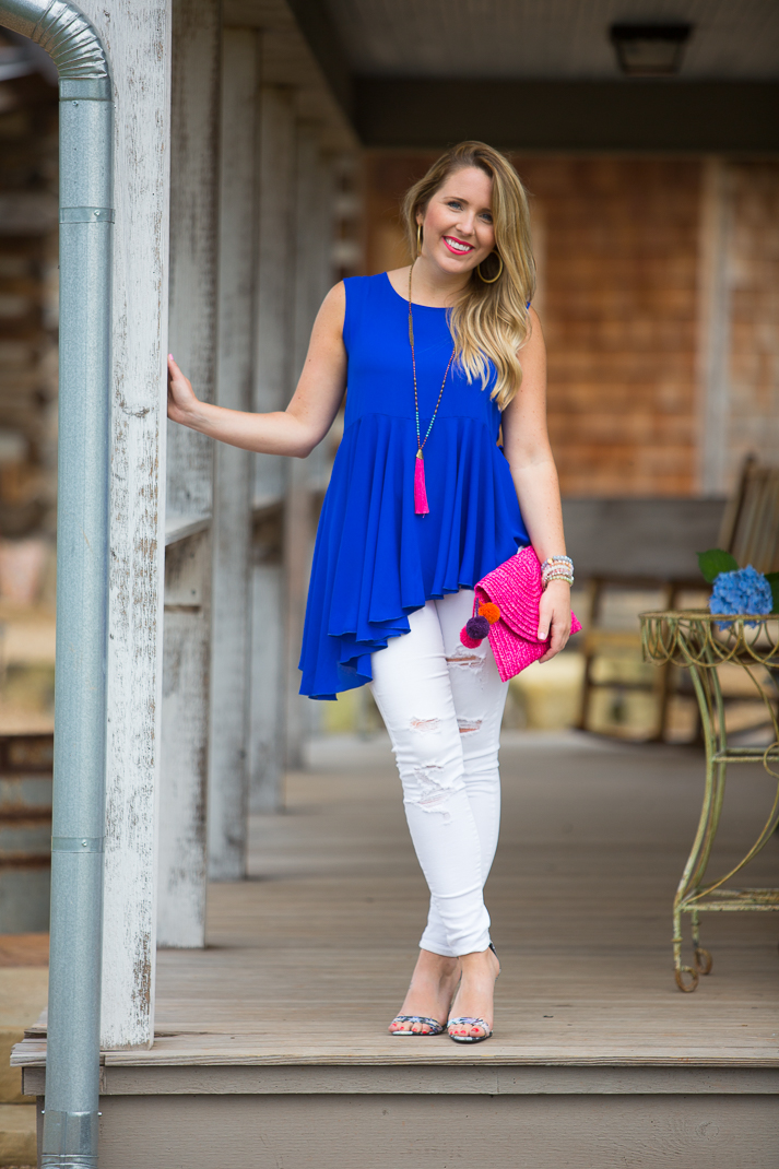 Blue Swing Top & Distressed White Denim-4