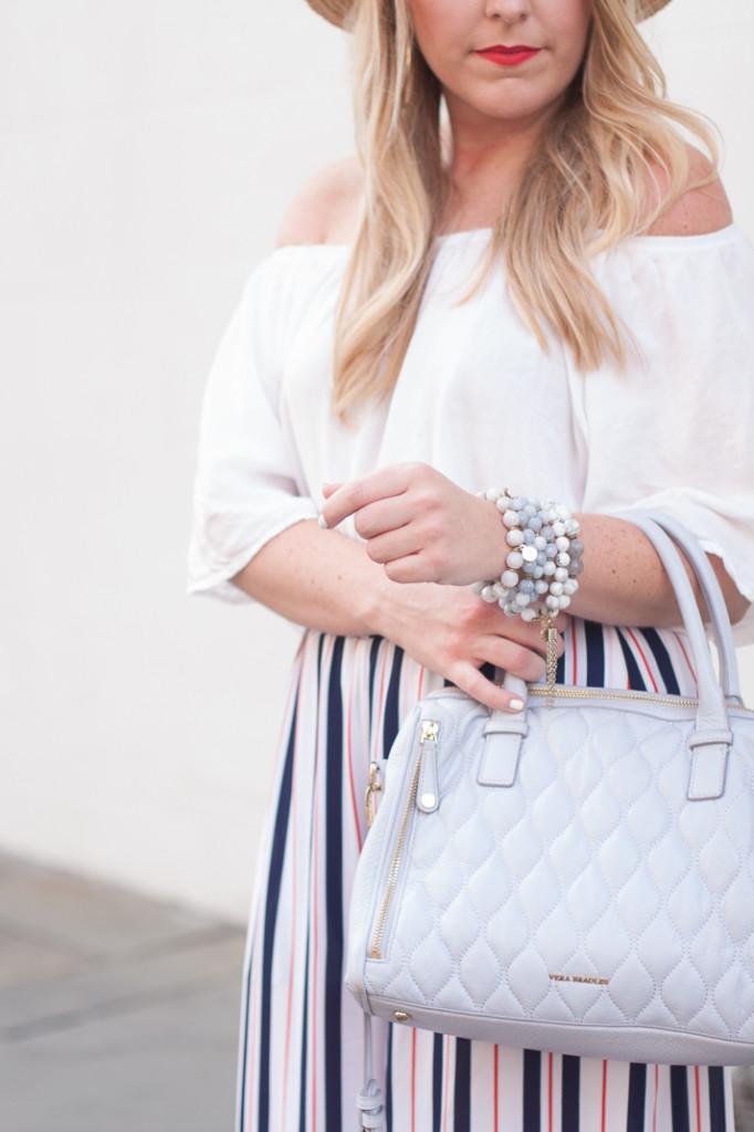 vera bradley satchel and bourbon and boweties bracelets
