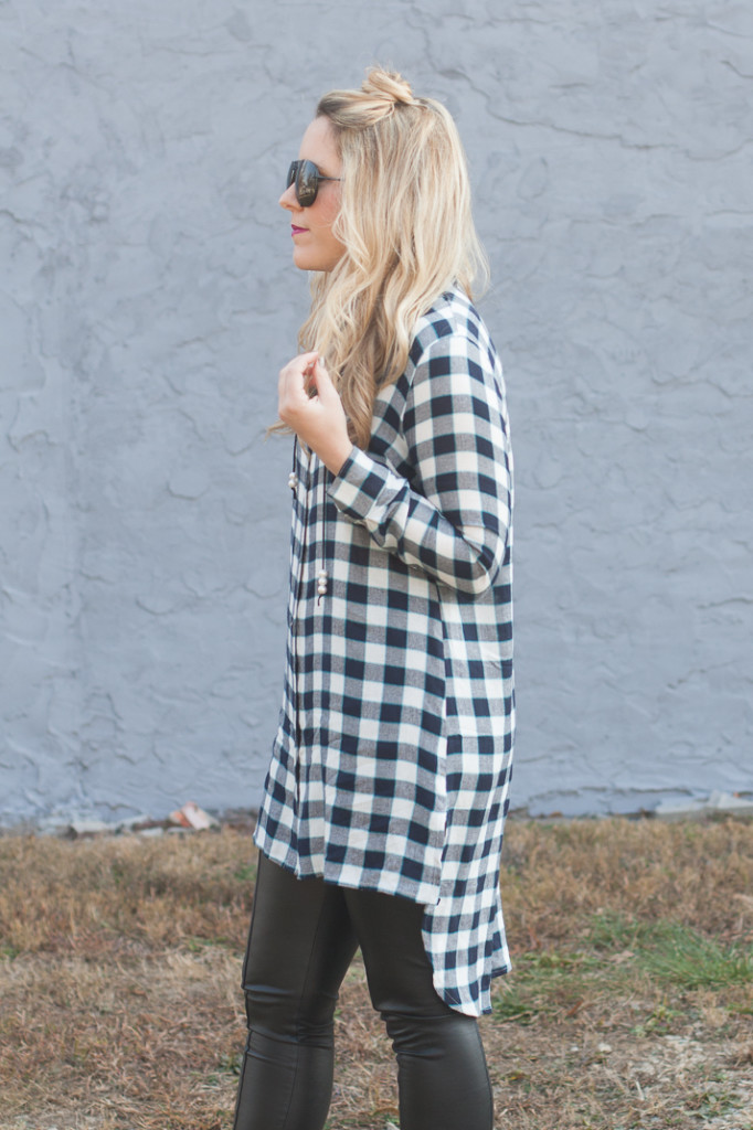 Button Down Tunic and Leather Leggings
