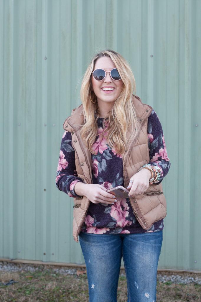 Floral Sweatshirt & Puffer Vest