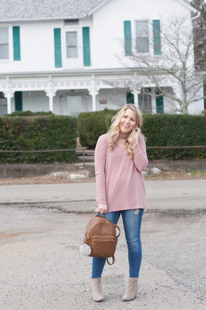 Blush Pink Sweater Cut Out Neck Trend Top and Jeans eff389a56