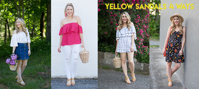 1 Pair of Yellow Sandals Styled 4 Different Ways