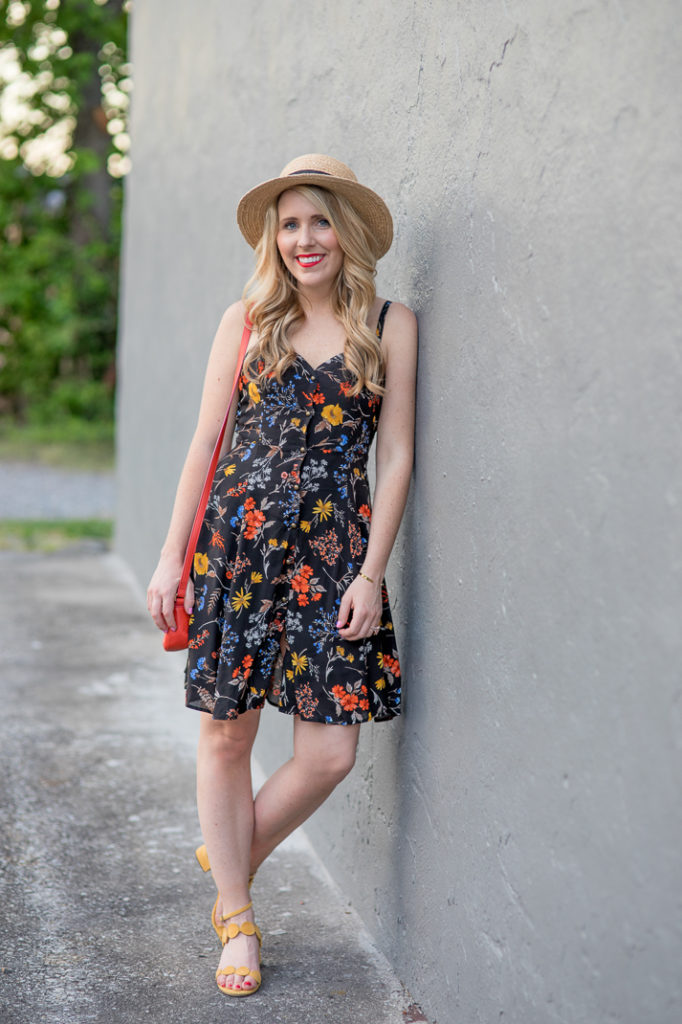 Printed Dress and Yellow Sandals
