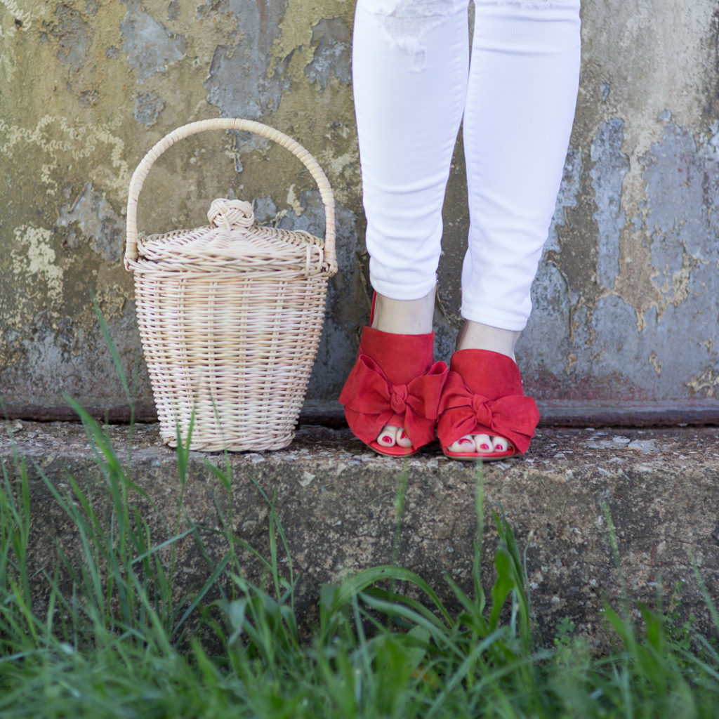 Red Bow Mules and Basket Bag